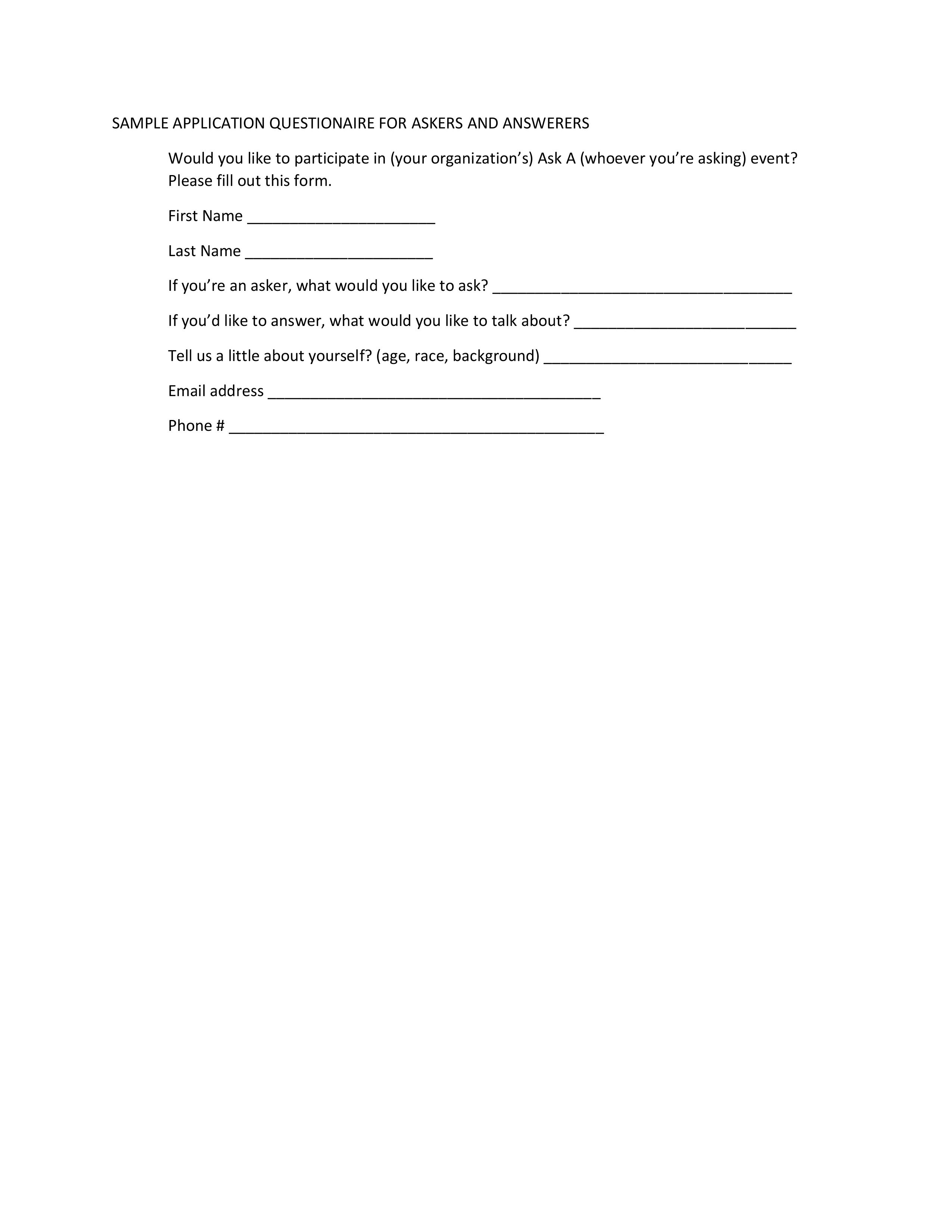 Sample Questionaire